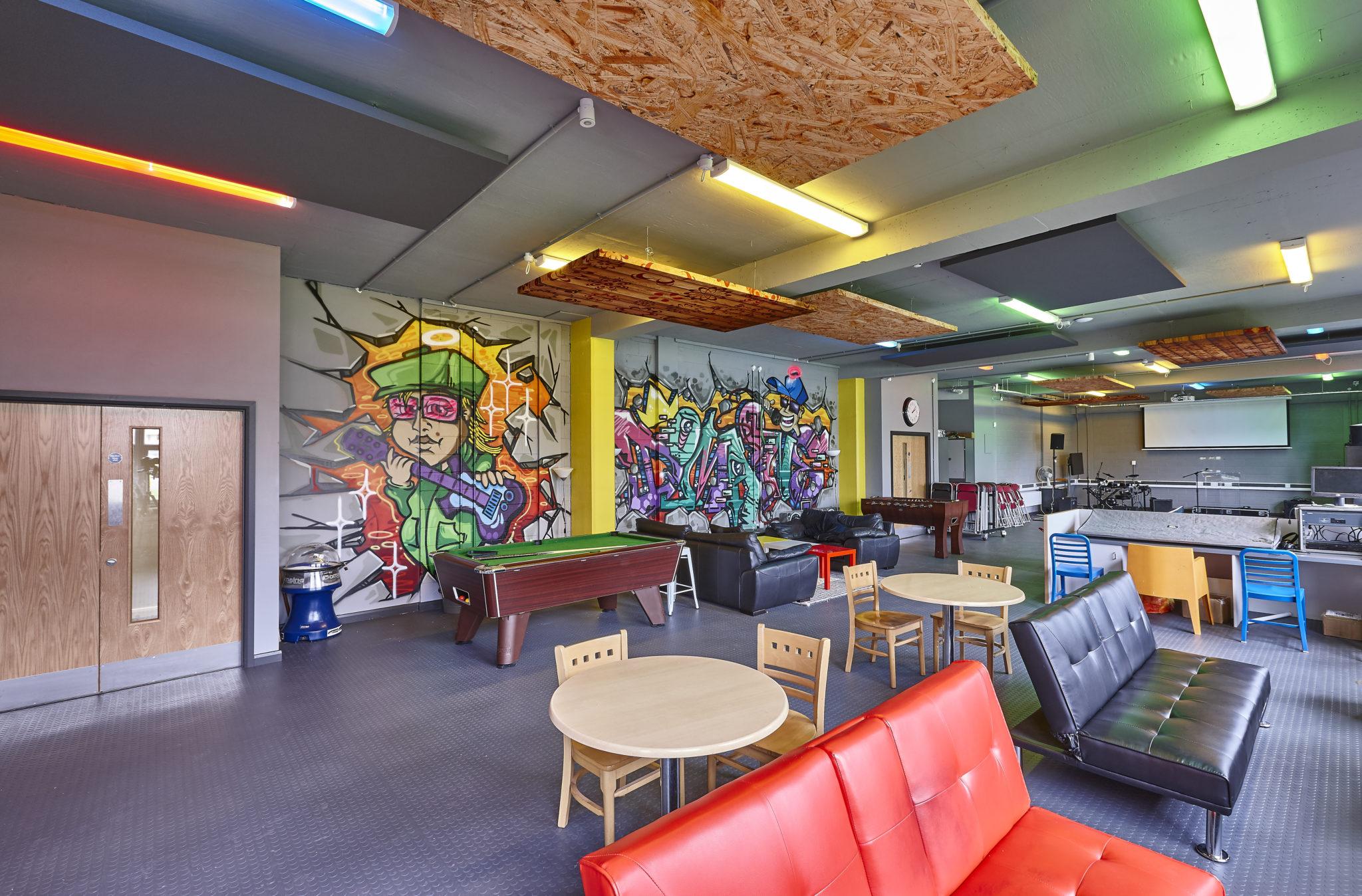 Acoustic treatment for a community centre